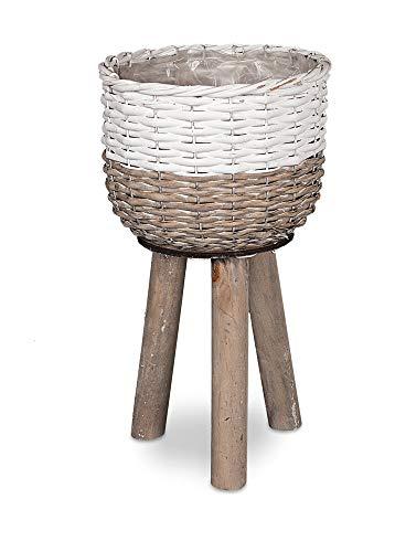 DISRAELI Porta Vaso Rialzato Vimini Bianco e Marrone Ø22xH16/38 cm