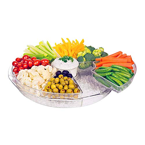 Chef's Star Acrylic Large Serving Tray, 8 Compartment Tray with Lid, Food Tray for Snack, Breakfast, Lunch, Dinner, Picnics, and Parties, Coffee Table Tray, Transparent