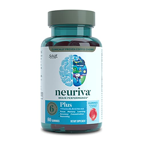 Neuriva Nootropic Brain Support Supplement - Plus Strawberry Gummies (50 Count in a Bottle), Phosphatidylserine, B6, B12, Supports Focus Memory Concentration Learning Accuracy and Reasoning