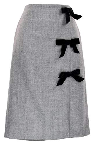 J Crew Women's Collection Bow Seam Pencil Skirt Double Serge Wool Gray 12 H3499