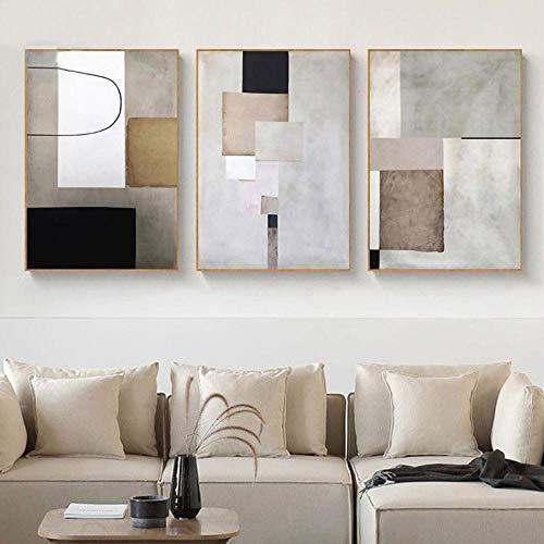Minimalista Pared Arte Lienzo Pintura Abstracto Poster Impresiones Cálido Color Bloque Línea Cuadro para Moderno Salon Habitación Hogar Decoracion 40x60cmx3 No Marco