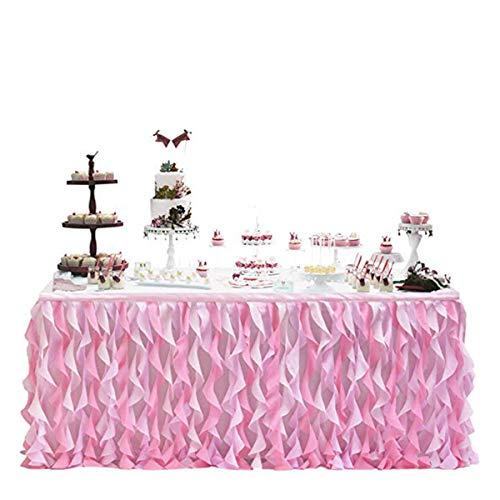 Falda de Mesa de Tul para Mesas Redondas o Rectangulares (Multicolores Opcionales) Falda de Mesa de Tutú de Postre para Fiesta de Cumpleaños de Baby Shower (Rosa 1, Taglia Unica)