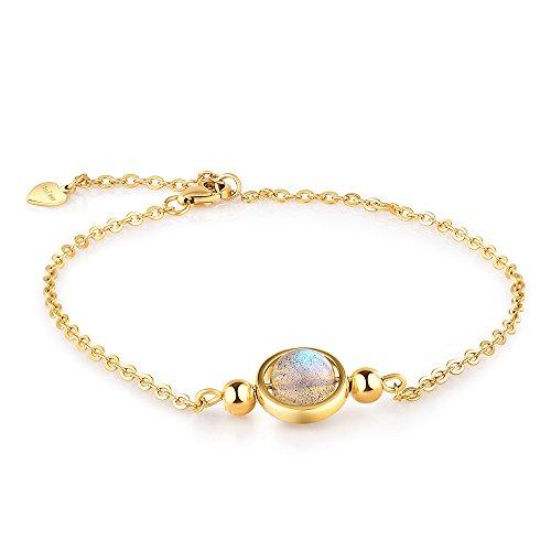 Dalwa 925 Silber Armband Damen mit 14 Karat 585 Gold Überzogen/Naturstein Labradorit - Charm Armkette inkl. Geschenkverpackung