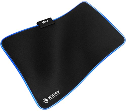 SADES Gaming Mouse Pad -Meteor - Thick (13.78X10.24X0.16 Inch) Computer Keyboard Mousepad Mouse Mat, RGB Lighting, Nonslip Base, Durable Stitched Edges, Ideal for Both Gaming & Office Used