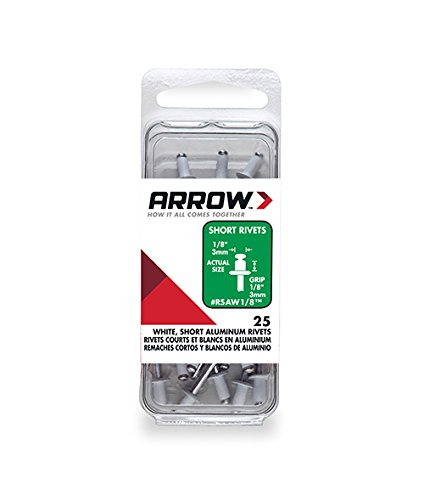 Arrow Fastener RSAW1/8 Short Aluminum White 1/8-Inch Rivets, 25-Count