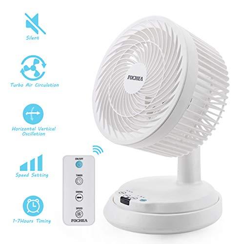 Luftzirkulator Ventilator, FOCHEA 38W Leise Turbo-Ventilator mit Fernbedienung Automatisch Oszillierend, 3 Geschwindigkeiten, 7 Stunden Timer, Tischventilator für Büro Wohnzimmer Schlafzimmer (Weiß)
