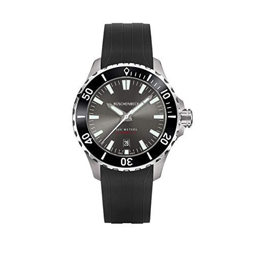 Rüschenbeck The Watch Automatik Herrenuhr R4DIVER Taucheruhr 316L Edelstahl 42 mm Saphirglas Kautschukarmband Wasserdicht 500 m grau/schwarz R4-S-KB-K01-06-I-SLN2