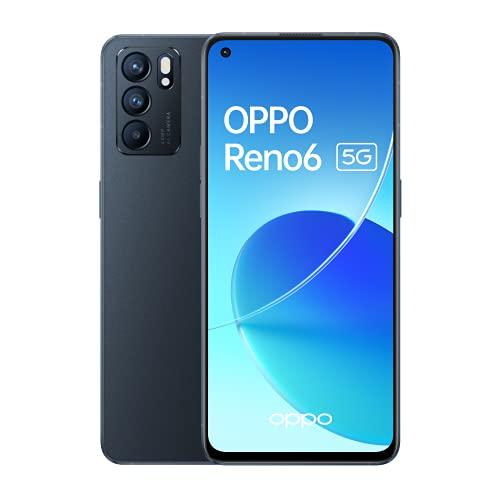 """Oferta de Reno 6 5G Stellar Black - AMOLED FHD+ 6,43"""" 90Hz, Triple cámara 64MP+8MP+2MP, Mediatek Dimensity 900, 8GB RAM + 128GB almacenamiento, carga rápida 65W y 4300mAh [Versión ES/PT]"""