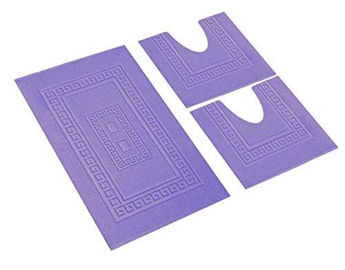 HomeIt - Set Tappeti Bagno 3 Pezzi in Cotone - Elegante Parure tappetini in Spugna: 1 Tappeto 60X90 2 Girowater/Girobidet - Lavabile Lavatrice - Made in Italy (Lilla)
