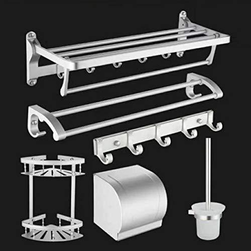 Bathroom Storage Gap Rack,Space Aluminum Six-Piece Explosion Style Towel Rack,Towel Rack with Storage,Storage Racks Light