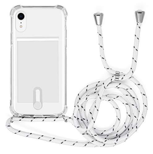 MyGadget Funda Transparente con Cordón para Apple iPhone XR - Carcasa Portatarjetas con Cuerda y Esquinas Reforzadas en Silicona TPU - Blanco