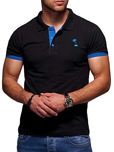 behype. Herren Kurzarm Basic Kontrast Polo-Shirt 20-0337 Schwarz-Blau XL