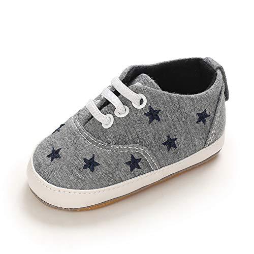 MASOCIO Babyschuhe Junge Lauflernschuhe Sneaker für Jungen Baby Schuhe Anti-Rutsch Größe 19 6-12 Monate Grau