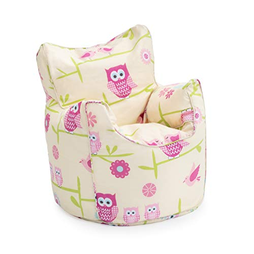 Ready Steady Bed Kids Toddler Armchair | Comfy Children Furniture | Soft Child Safe Seat Playroom Sofa | Ergonomically Designed Bean Bag Chair (Owls)