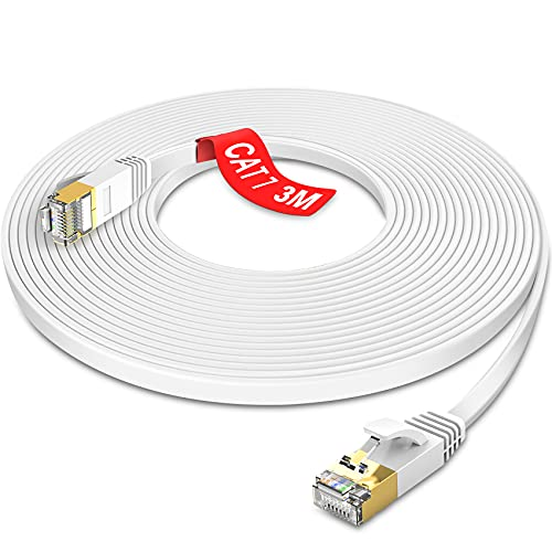 GLCON - 3m Cat 7 LAN Kabel Gigabit 100/1000/10000Mbit/s Flach Ethernet Kabel Kompatibel mit Cat.5e/6/7 für PS5 Xbox Switch Modem Netzwerk