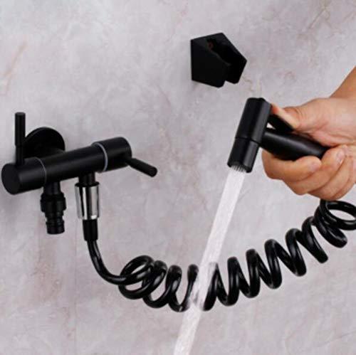WC bidet Negro Agua Fría StainlessSteel esquina de la válvula de mano la cabeza de ducha higiénica Car Wash pulverizador para mascotas aerógrafo grifo, grifo del bidé conjunto 2