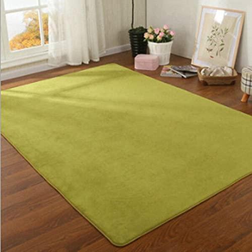 Alfombra de terciopelo coral grueso de color sólido moderna sala de estar alfombra dormitorio mesita de noche Tatami Rastrear Mat Decoración del hogar 100 x 160 cm verde
