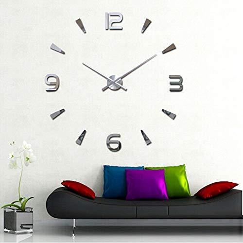 Yosoo Reloj de pared 3D con superficie de espejo, adhesivo decorativo para salón, oficina, habitación de estudio, decoración de reloj, regalo único