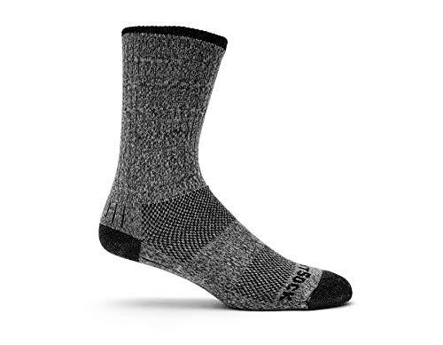 WrightSock Men's Adventure Crew Sock, Black Marl, Large
