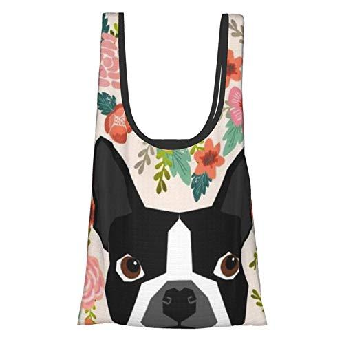 SoeHir Boston Terrier Florals - Juego de bolsas de comestibles plegables para cachorros y mascotas, diseño de flores bohemio, color blanco y negro