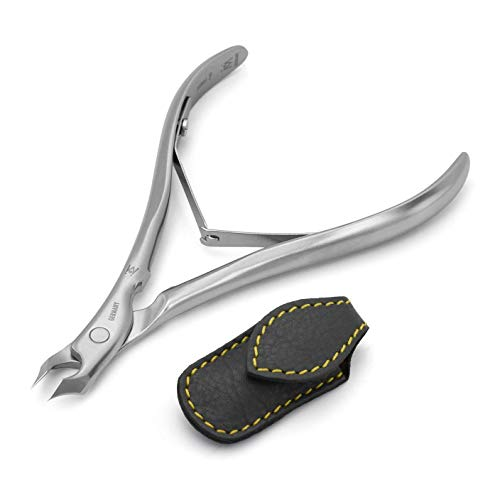 GERMANIKURE Tower Point Cuticle Trimmer - 1/2 Half Jaw Nipper - Ethically Made in Germany - FINOX Stainless Steel Professional Sharp Cuticle Remover in Leather Case – Manicure Tool, r145, 5mm