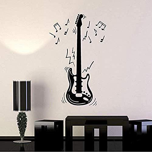 Guitarra Eléctrica Partitura Instrumento Música Vinilo Tatuajes De Pared Decoración Para El...
