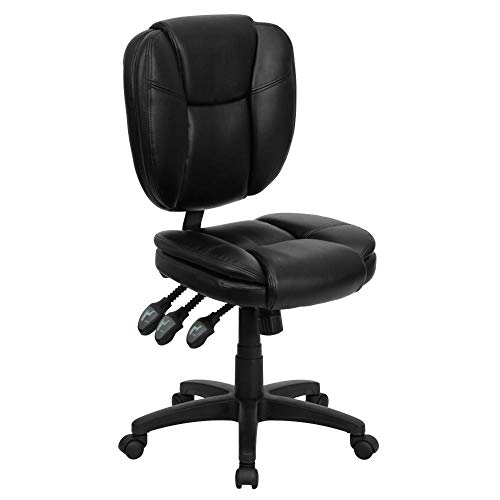 Flash Furniture Mid-Back Black LeatherSoft Multifunction Swivel Ergonomic Task Office Chair with Pillow Top Cushioning, BIFMA Certified
