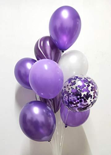 Chrome Purple Marble Confetti Balloons -Latex Lavender Purple Metallic White yuqinBB Balloons Assorted for Wedding Women Birthday Party Decoration 12inch 60Packs (Purple)