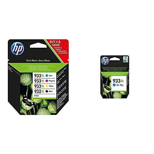 HP 932XL-933XL C2P42AE, Pack de 4, Cartuchos de Tinta de Alta Capacidad Originales Negro y Tricolor + 933XL CN054AE, Cian, Cartucho de Tinta de Alta Capacidad Original