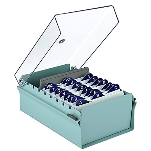 """Acrimet Fichero Tarjetero 3"""" X 5"""" Organizador de Tarjetas con Divisor y Indice A-Z incluidos (Índice A-Z 130mm X 90mm) (Base de Metal Resistente Color Verde y Tapa de Plástico Transparente)"""