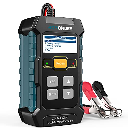 Romondes Car Battery Charger, 3 in 1 Car Battery Tester, 12V 4Ah-100Ah Fully Automatic Smart Battery Charger Automotive Pulse Repair Maintainer, Trickle Charger Battery Desulfator