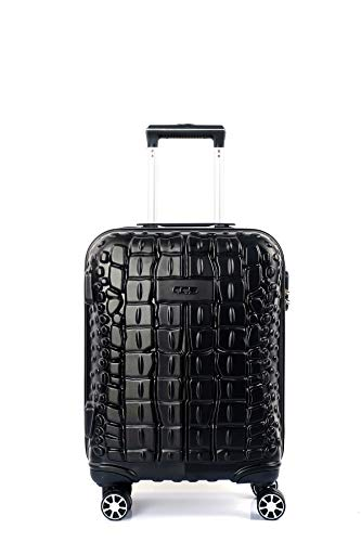 CCS CROCODILE 8 Wheels Suitcase Trolley Carry On Hand Hard Shell Travel Bag Lightweight Luggage (Small, Black)