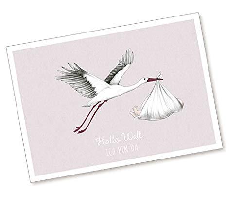 1 Postkarte Babykarte Glückwunschkarte zur Geburt in ROSA MALVA mit STORCH UND BABY •
