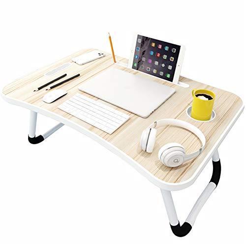 Estaciones de trabajo informáticas Escritorio de regazo multifunción, mesa lateral plegable sobre fondo, bandeja de servir de cama de desayuno, mesa de cama portátil Mesa de pie portátil con ranura pa