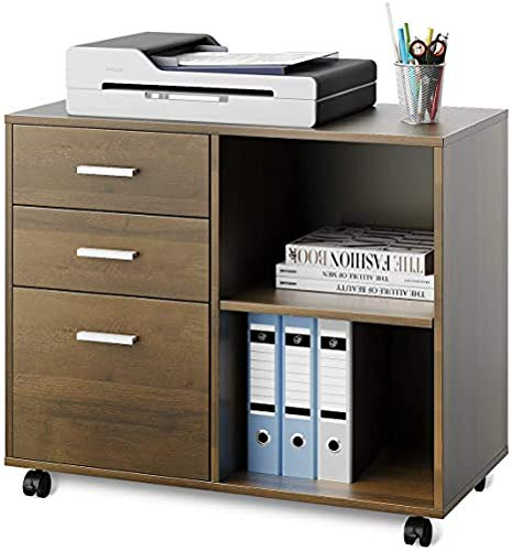 Wood File Cabinet, Mobile Lateral Filing Cabinet, Printer Stand with Open Storage Shelves for Home Office, Gray Oak