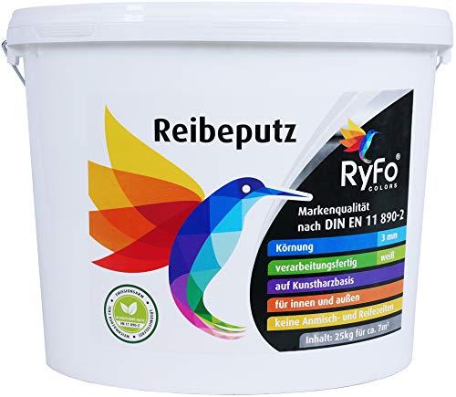 RyFo Colors Reibeputz 3mm 25kg - Fassadenputz, Oberputz, Edelputz, Strukturputz, Fertigputz weiß für innen und außen, witterungsbeständig, weitere Körnungen und Optiken wählbar