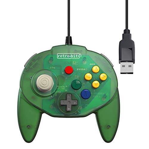 Retro-Bit Tribute 64 USB for PC, Switch, Mac, Steam, RetroPie, Raspberry Pi - Forest Green