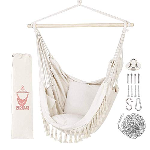 Fidelis Hammock Chair Hanging Rope Swing Seat with Hardware Mounting kit, 2 Cushions for Patio Indoor and Outdoor, Macrame Chair