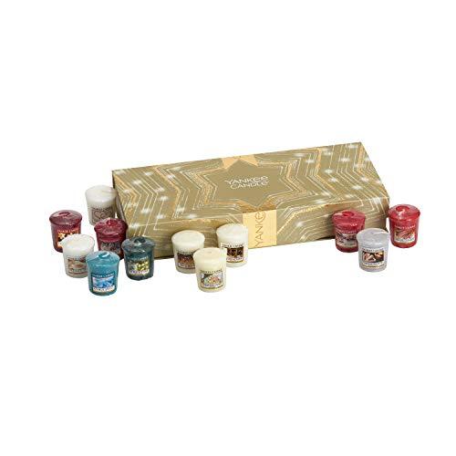 YANKEE CANDLE Set Regalo di Natale, Confezione da 12 Candele Votive, fragranze Natalizie
