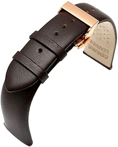 PINGZG Cuchillo de Reloj de Reloj de Cuero Genuino de la muñeca de la Banda de la Banda 18 mm / 20 mm / 22 mm de Reloj de Reloj (Color : Brown, Size : 18mmgold Clasp)