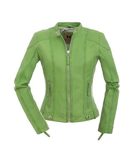 Magnifica Olivia in Hellgrün - Wunderschöne sportliche Damen Lederjacke aus echtem Leder (XL/42)