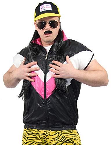 Foxxeo 80er Jahre Herren Weste für Jungen Kostüm - schwarz pink - Größe S bis XXXL, Größe:L/XL
