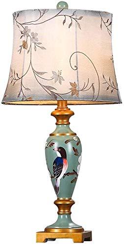 BUDBYU Moderne Tischlampe-Schreibtischlampe American Antique Schlafzimmer Nachttischlampe Wohnzimmer Dekoration Beleuchtung Harz und Tuch Knopfschalter E27 (Farbe: groß)