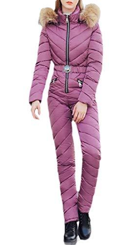 BingSai Womens Down Puffer Jumpsuit Fur Faux Hoodies Solid Color Tracksuit Set Purple L