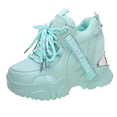 Zapatos Casuales de cuña Oculta para Mujer Zapatillas de Deporte de Malla Transpirables con Plataforma Alta y Cordones Zapatillas Ligeras Antideslizantes para Caminar para Mujer