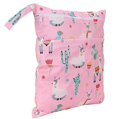 Baby natte droge tas, lichtgewicht dierpatroon dubbele ritsen babydoek luiertas voor dagelijks gebruik voor kinderen(Gras modderig paard)