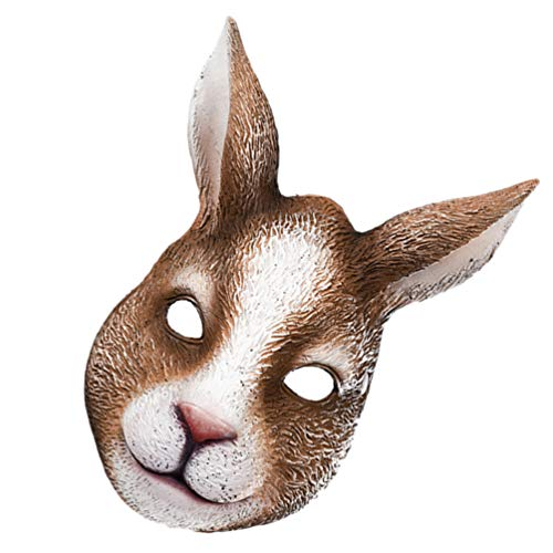 ABOOFAN Disfraz de conejo de media mscara de cabeza de conejo mscara decorativa mscara mscara de carnaval Pascua Cosplay accesorios