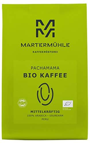 Martermühle | Bio Kaffee PachaMama (250g) | Ganze Bohnen | Premium Kaffeebohnen aus Peru | Schonend geröstet | Kaffee säurearm | 100% Arabica
