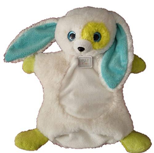 Doudou et Compagnie - Peluches et Doudous - Peluche Marionnette Lapin - Collection Miniz Oh Studio - Blanc Vert Bleu - 28 x 22 cm - Genre : bébé Fille garçon - Dès la Naissance