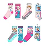 Disney - Calcetines para niña de Frozen Anna y Elsa de seis pares Rosa 31-34